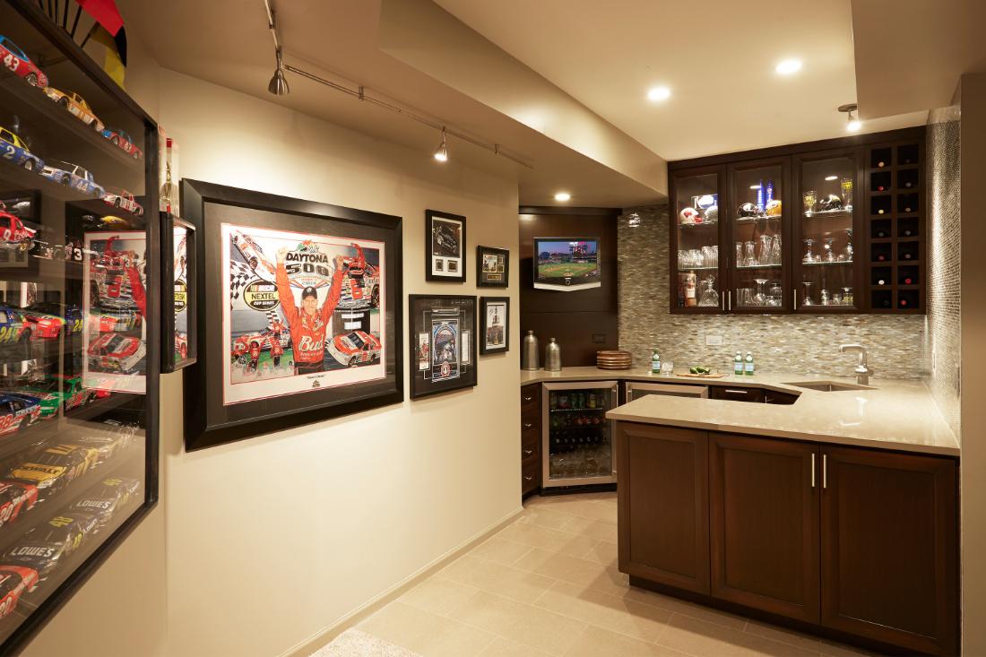 basement-interior-design-bar-drink-fridge-display-cases