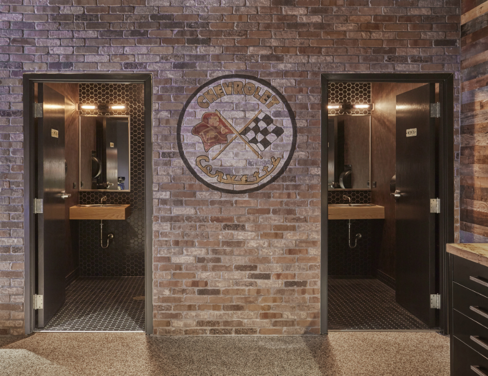 Brick Man Cave Garage Bathrooms Redux Interior Design 1