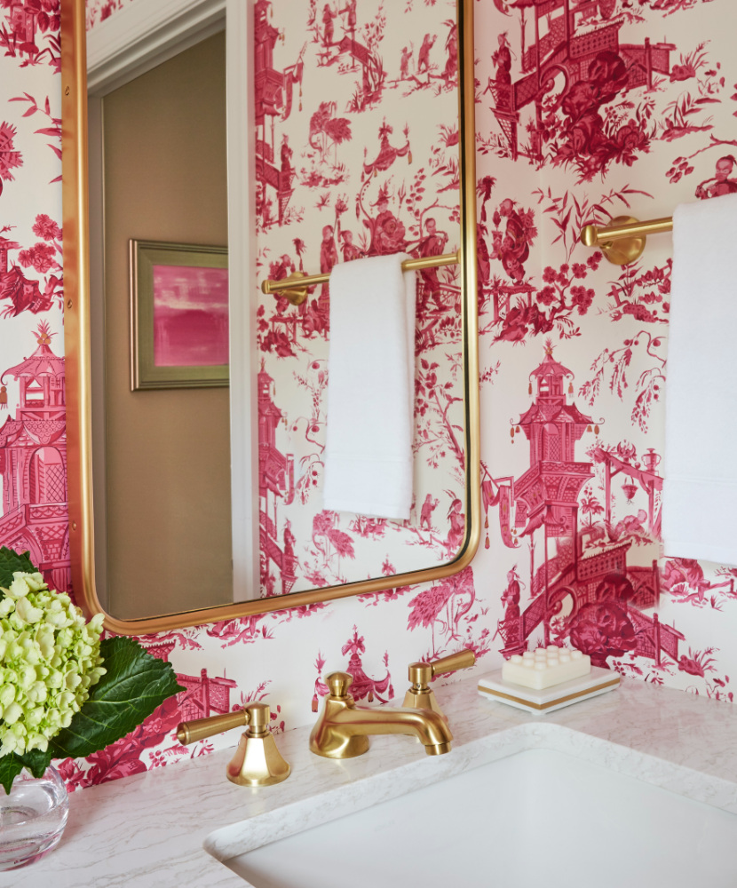 Elegant Bathroom Redesign Renovation Pink Wallpaper