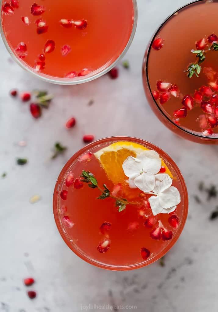 Joyful Healthy Eats Holiday Pomegranate Gin Cocktail